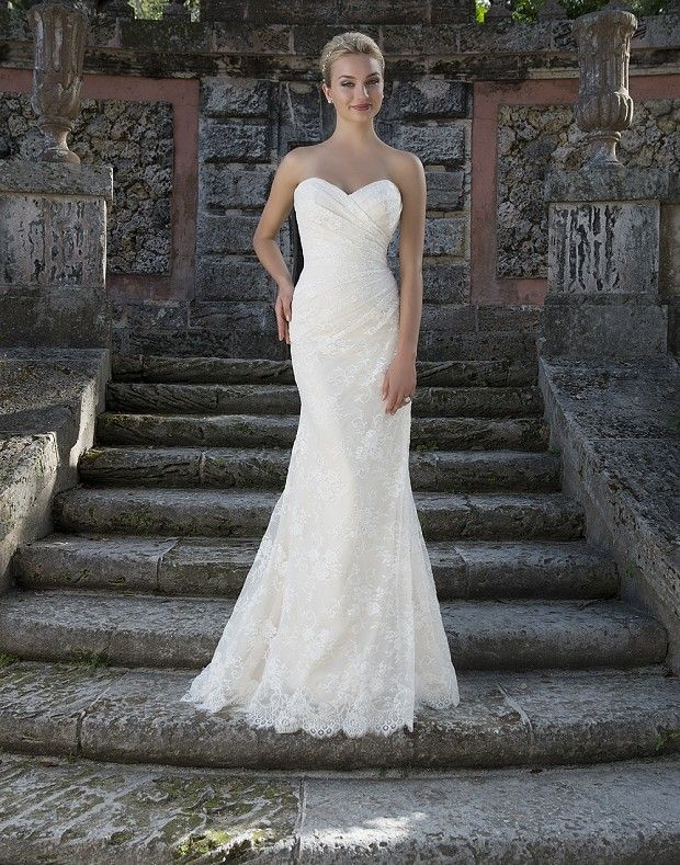 Style 3908: Chantilly Lace Slim A-line highlighted by a Portrait neckline | Sincerity Bridal