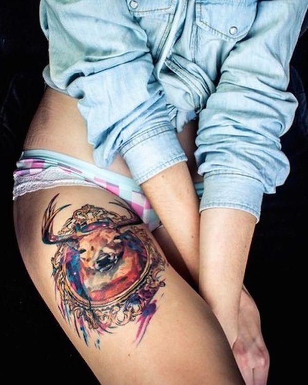 Tatuagem Feminina na Perna | Cervo Retrato