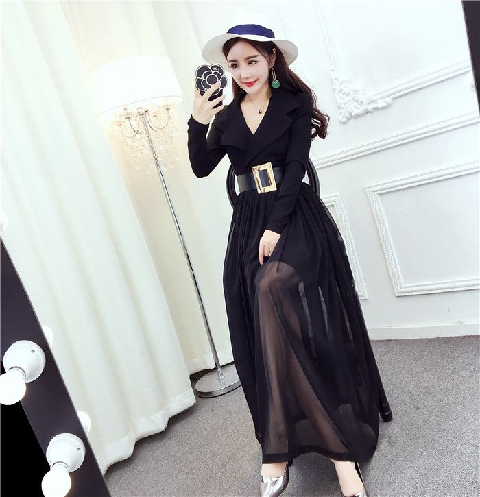 New Arrivals : 2017 April black V neck chiffon maxi dress with belt