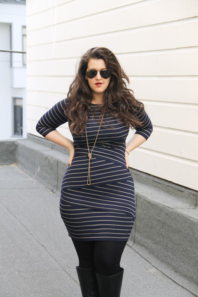 Fitted striped dress with high boots, long necklace #plus_size_fashion