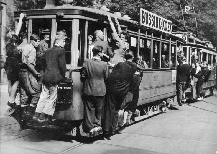 1950's Rush hour public transportation. #amsterdam #1950