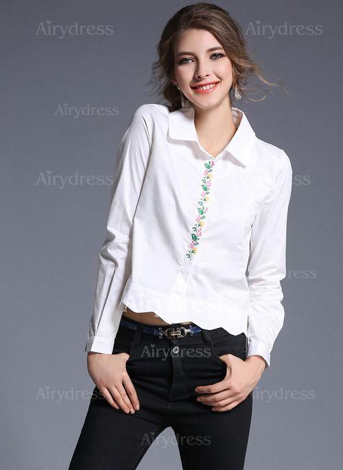 Llanura Casuales Poliéster Cuello Manga larga Camisas (1033253) @