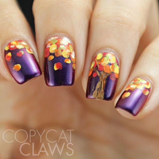 Nails Autumn: Copycat Claws: HPB Presents Fall Tree Nail Art