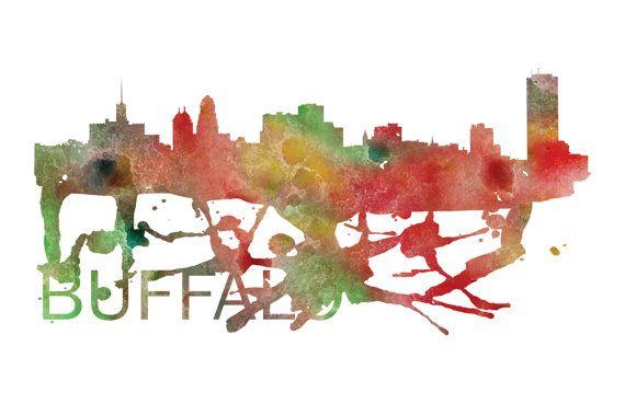 Buffalo Art, Buffalo Skyline, Buffalo map, Buffalo wall art, Buffalo map print  A beautiful Watercolor Art print of Buffalo, New York. Perfect