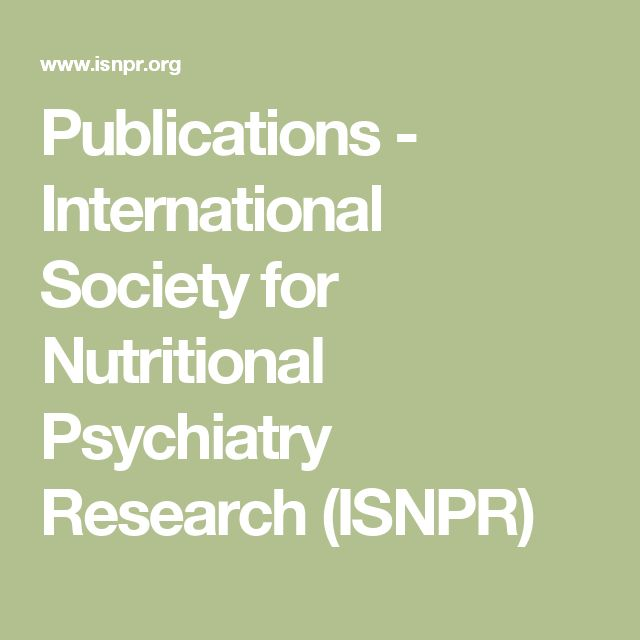 Publications - International Society for Nutritional Psychiatry Research (ISNPR)