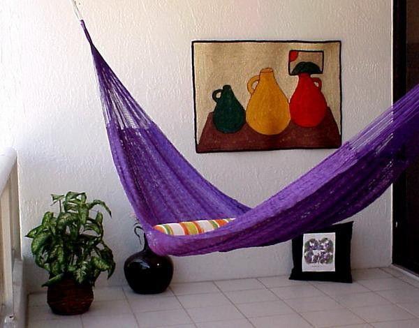 Modern hammock ideas purple vases decoration
