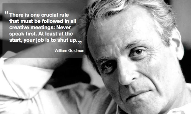 William Goldman discussing script meetings in 'Adventures in the Screentrade'. Published 1983