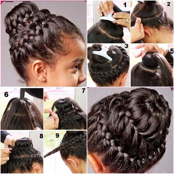 How To Double Crown Braid With Donut Bun