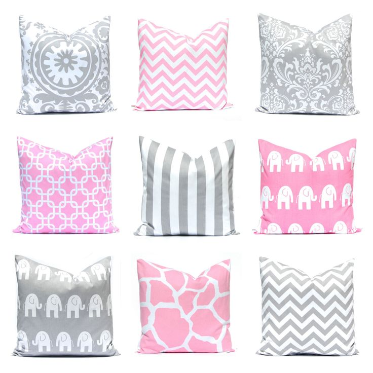 Baby Pink Pillow Cover, Gray Nursery Pillows, Pink Pillows, Baby Girl, Decorative Pillows, Elephants, Pink Chevron, Gray Chevron by FestiveHomeDecor on Etsy