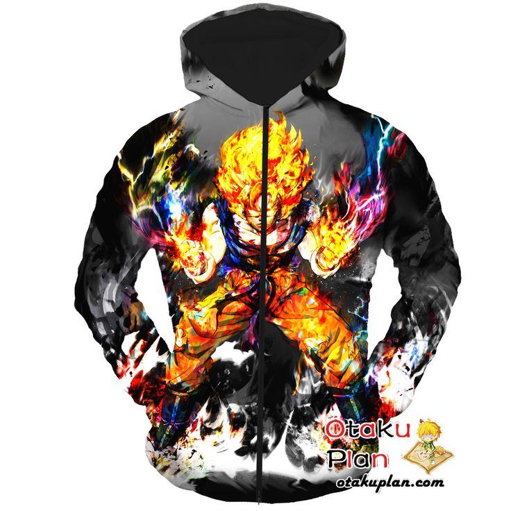 DBZ Goku Flaming Super Saiyan Black Zip Up Hoodie - Dragon Ball Z 3D Zip Up Hoodies And Clothing  #animeboy #animeart #merchandise #animelover #stuff #comic #anime