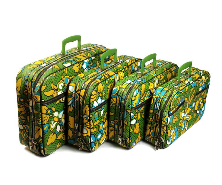 Top of the Flower Luggage - 1960s Green Floral Suitcase by A.D. Sutton & Sons  - Travel Case - Childrens Luggage. $225.00, via Etsy.