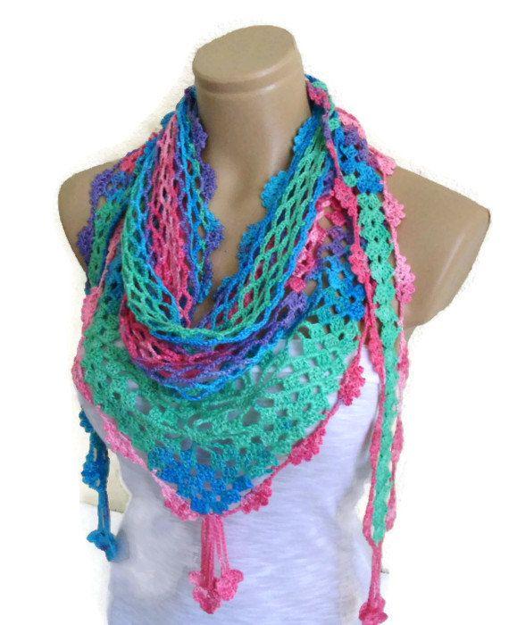 Crocheted+Multi+Color+Lace+Scarf+Holiday+por+likeknitting+en+Etsy