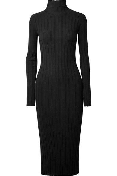 45bf158c945 THEORY Ribbed-knit turtleneck midi dress Ribbed Knit Dress