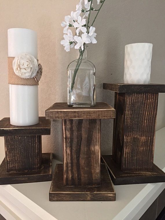 This gorgeous Set of 3 Shabby Chic Distressed Pillar/Column Candle Holders add the perfect touch to any mantel, tabletop, entry table or