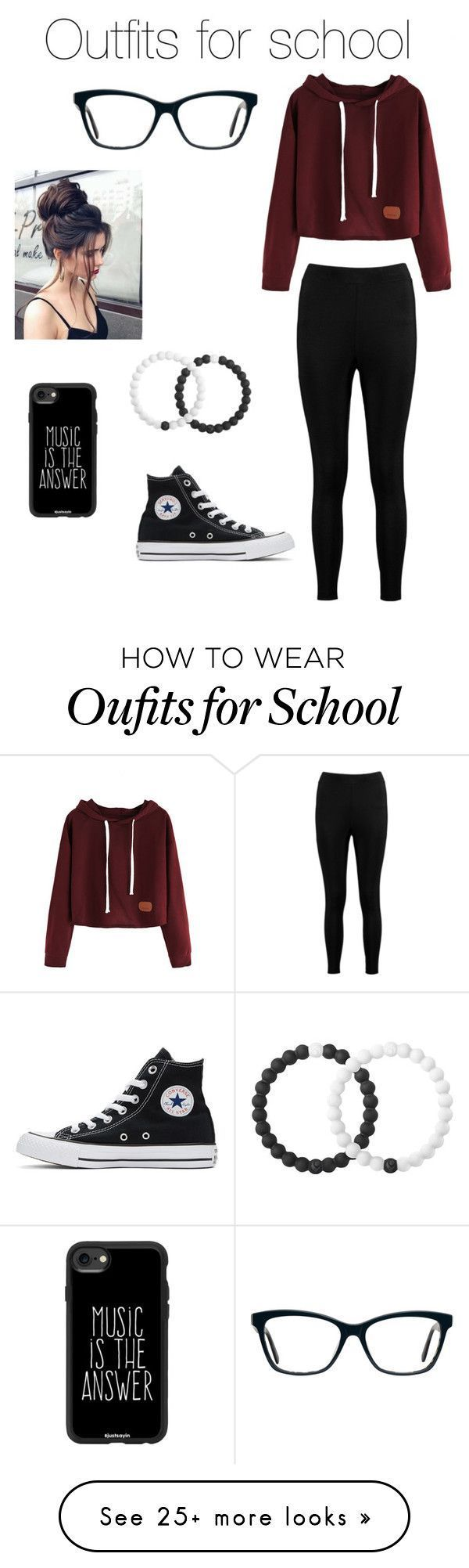 School outfits from marissalinda on Polyvore with Lokai Casetify Boohoo and Converse