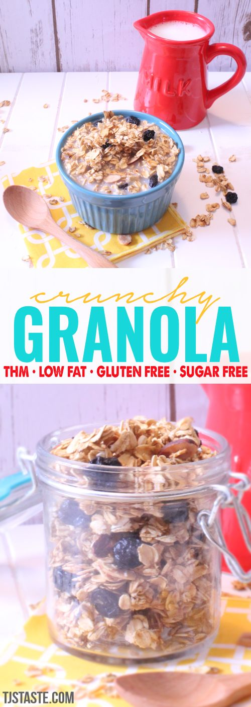 Crunchy Granola • THM E • Low Fat • Sugar Free • Trim Healthy Mama via @TJsTaste