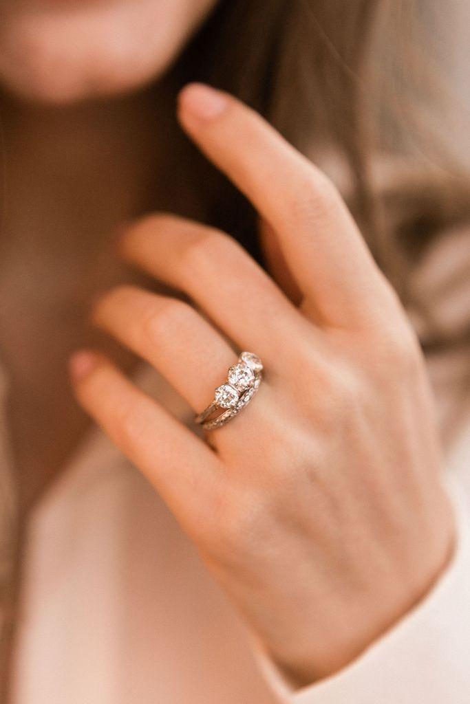 Shae Three Stone Engagement Rings Round Diamond Engagement