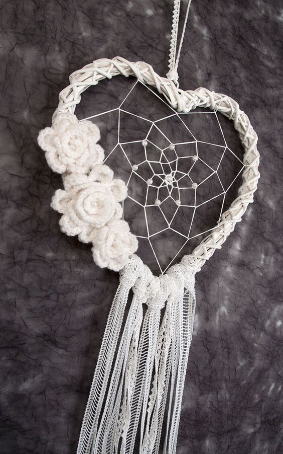 Attrapeur de rêve coeur blanc mariage décor mariage décorations dreamcatcher…