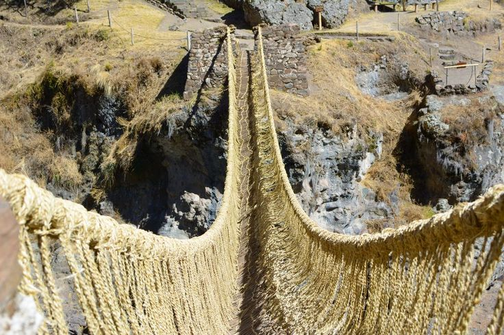 ​Stretching over the Apurimac River, this suspension bridge is made of grass and rebuilt every year using traditional Inca techniques.