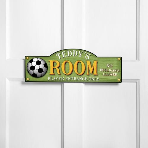 Personalized sports themed boy s bedroom signs kid for Kids room signs