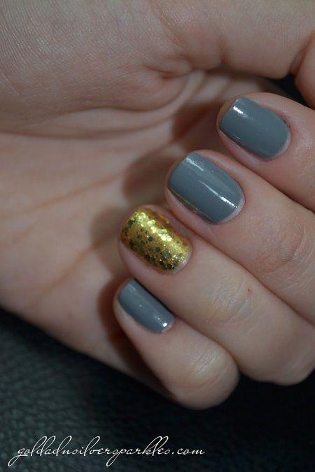 Notd: Grey and Gold - #nails #polish #nailart #sparkles #goldglitter - bellashoot.com