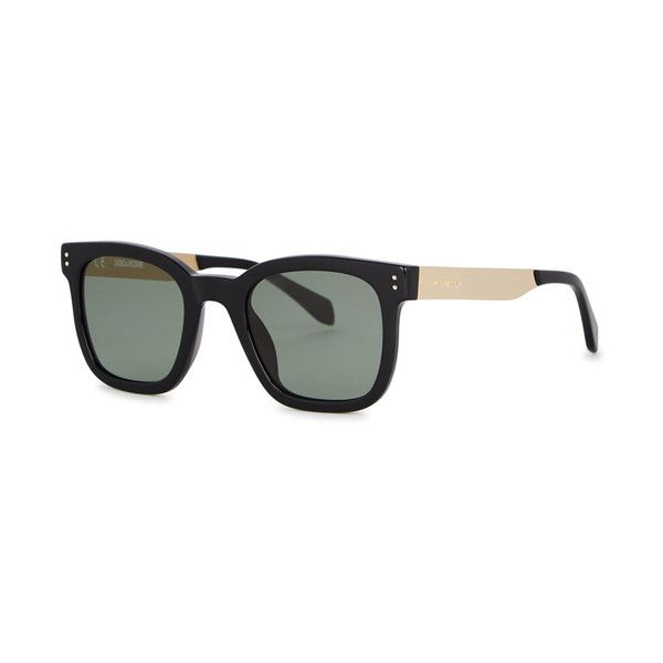 Zadig & Voltaire Black Wayfarer-style Sunglasses (635 BRL) ❤ liked on Polyvore featuring accessories, eyewear, sunglasses, uv protection sunglasses, acetate sunglasses, uv protection glasses, engraved glasses and wayfarer glasses
