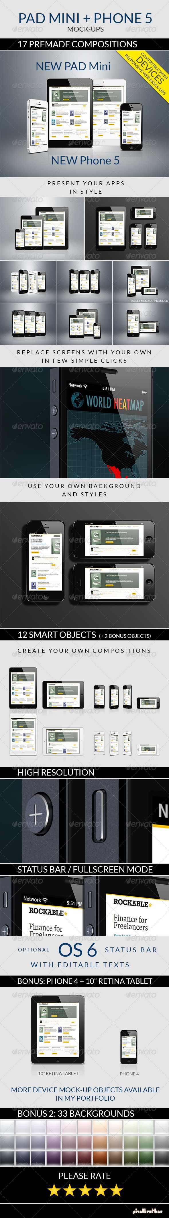 Pad Mini and Phone 5 Mockups — Photoshop PSD #hi-res #retina • Available here → https://graphicriver.net/item/pad-mini-and-phone-5-mockups/3249008?ref=pxcr