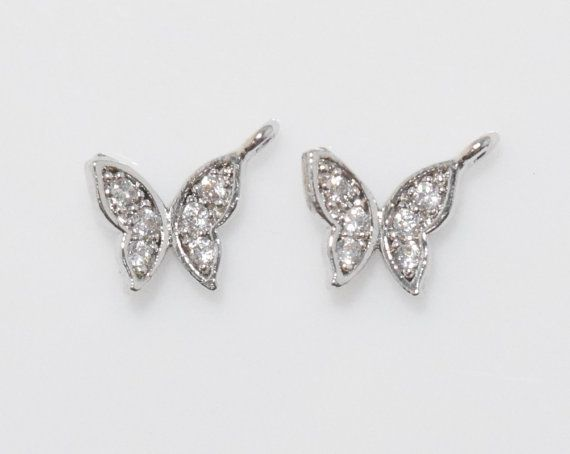 Butterfly Cubic Pendant, Jewelry Supplies, Jewelry Making, Polished Rhodium - 2pcs / UT0008-PR