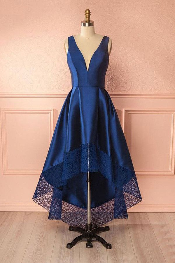 Deep Blue V Neck High Low Lace Satin Prom Dresses Bridesmaid Dresses PG384