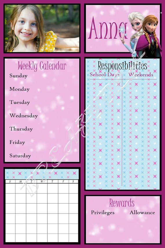 Responsibility Chore Chart Frozen Dry Erase Personalized Custom Etsy