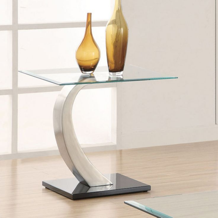 Coaster Furniture Glass Top End Table with Metal Base - 701237