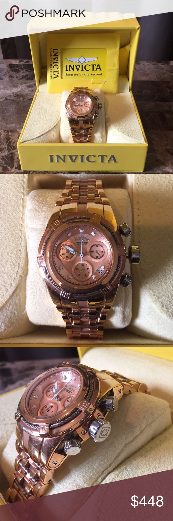 "Invicta Women's Bolt Zeus Stainless Steel Watch Invicta rose-tone timepiece with MOP dial.  40 mm case features stainless steel cable accents.  Water Resistant to 660 Feet.  Rarely worn.  Rarely worn.  No signs of wear.  Currently sized for a 7"" wrist.  Extra links in box. Invicta Accessories Watches"