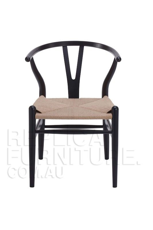 Replica Hans Wegner Wishbone Chair Black -- The Wishbone chair was designed by one of the most famous Danish designers Hans Wegner, and was originally released to the market in 1949.  Also referred to as the CH24 Y chair, the Wishbone chair is suitable as a dining or occasional chair in stylish contemporary commercial and residential interiors.
