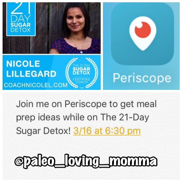 Want to see meal prep while on the 21-day sugar detox? Tune in to periscope tomorrow night! #mealprep #21dsd