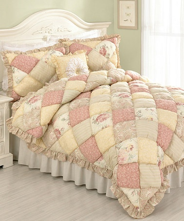 Take a look at this Peach Molly Quilt Set by Peking Handicraft on #zulily today!