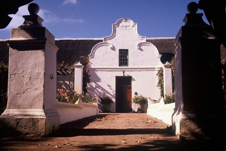 The entrance to the 1773 Cape Dutch Gable on Vergenoegd Wine Estate,Stellenbosch,South Africa.