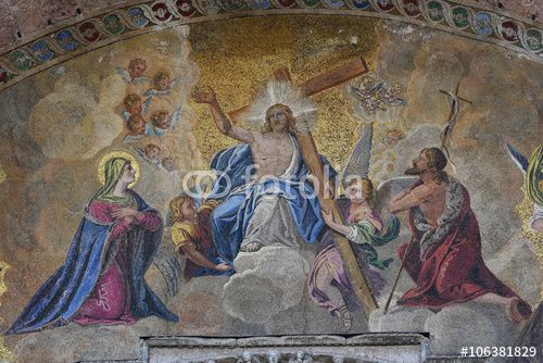 The Last Judgment mosaic, above doorway St Mark s Basilica Venice Italy