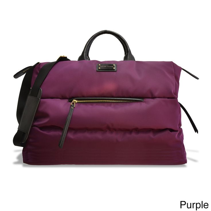 [I WOULD USE THIS AS A SCHOOL BAG FOR THE UP-COMING SCHOOL YEAR] - Adrienne Vittadini Nylon Oversize Duffel Bag (Black) - MARSHALL'S HAS THIS VERY BAG IN PURPLE/GRAY INTERIOR AND BLACK/RED INTERIOR FOR $49.99...ALL I WOULD NEED IS A QUILTED PUFF COAT TO GO WITH IT...HAPPY EARLY BIRTHDAY TO ME...