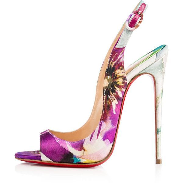 Christian Louboutin Allenissima ($995) ❤ liked on Polyvore featuring shoes, sandals, heels, high heel slingbacks, heeled sandals, floral sandals, high heel sandals and high heel stilettos