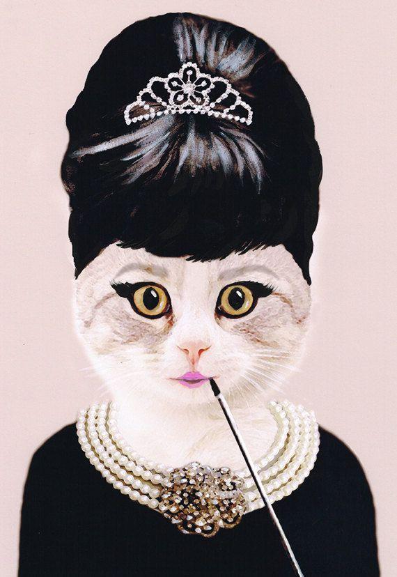 Audrey Hepburn Cat : Art Print Illustration acrylique peinture Animal peinture mur décor mur accrochant illustration Wall Art Glicee Digital...