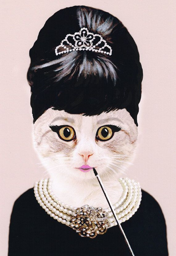 Audrey Hepburn Cat Art Print Illustration Acrylic by bobogalerie, $15.00