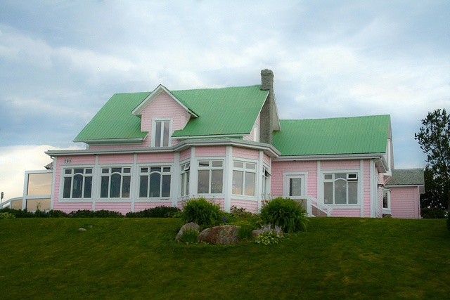#Pink #house on top of a hill in the region of #Gaspesie, #Quebec, #Canada.  La Maison Rose Gaspésienne by Danny VB, via Flickr