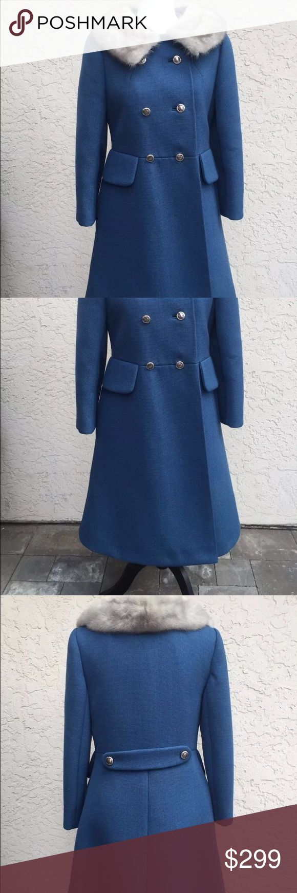 Vintage 1950/60s blue pea coat sz small Here are the flaws : small little holes here and there all over . ( I can provide additional pictures ) pink color silk inside lining , stains near the arm pic areas. Some buttons are slightly loose. Over all amazing vintage condition ! No tags or brand on it. It fits me perfectly and I'm a size small / medium . I have measurements upon request ! Vintage Jackets & Coats Pea Coats