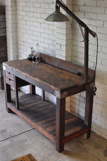 Rustic industrial workbench. Pretty cool.
