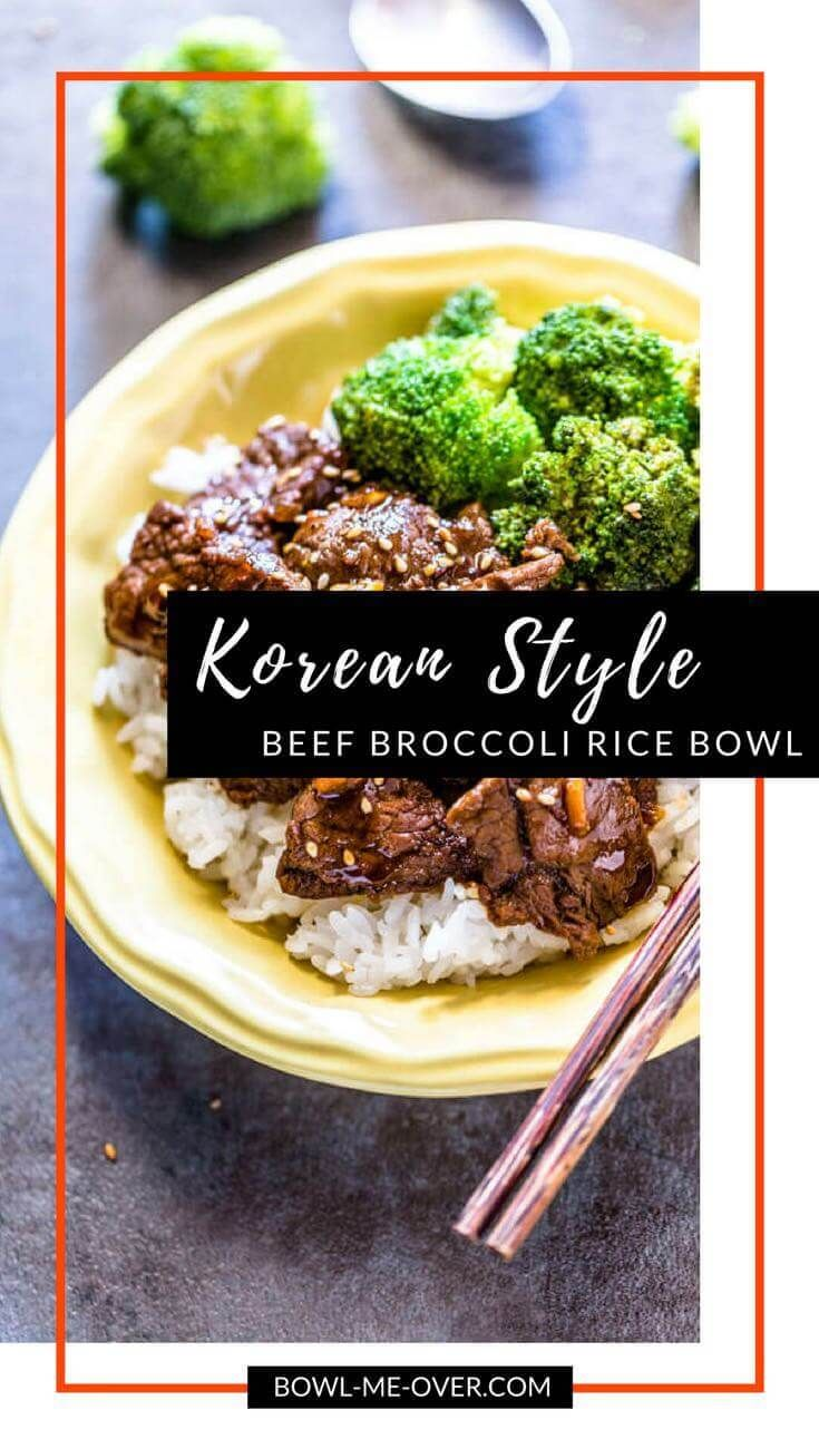 Korean Style Beef Broccoli Rice Bowl - thinly sliced tender beef marinaded, then sautéed with sweet crunchy broccoli makes this a crave-worthy dish!
