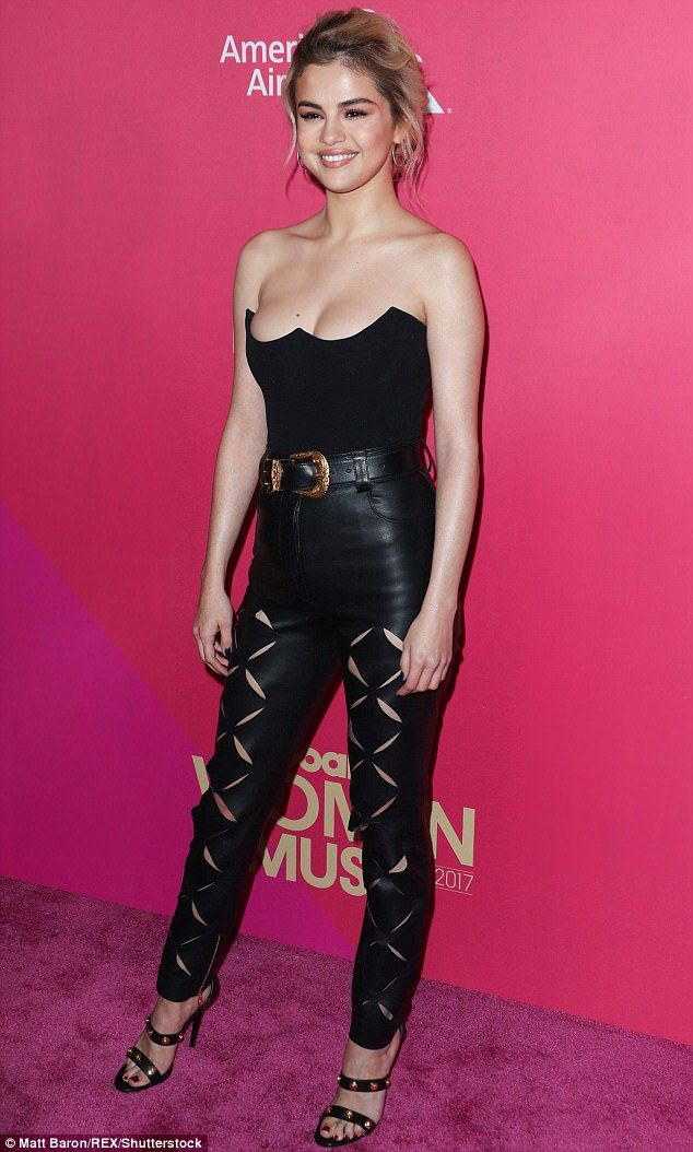 Hell bent for leather: She stunned in a pair of high-waisted leather trousers