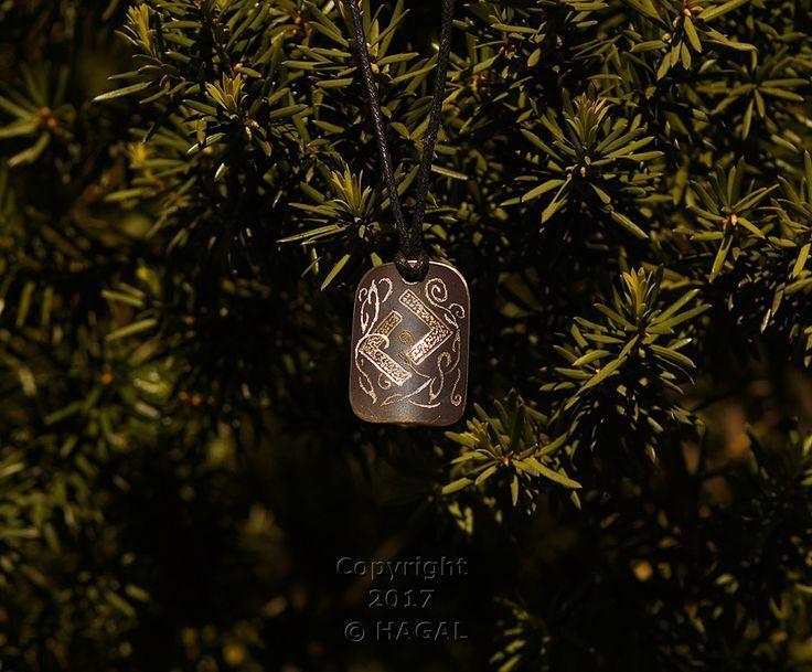 Jera  Rune Amulet Pendant Handmade Brass Wicca Pagan Viking Druid