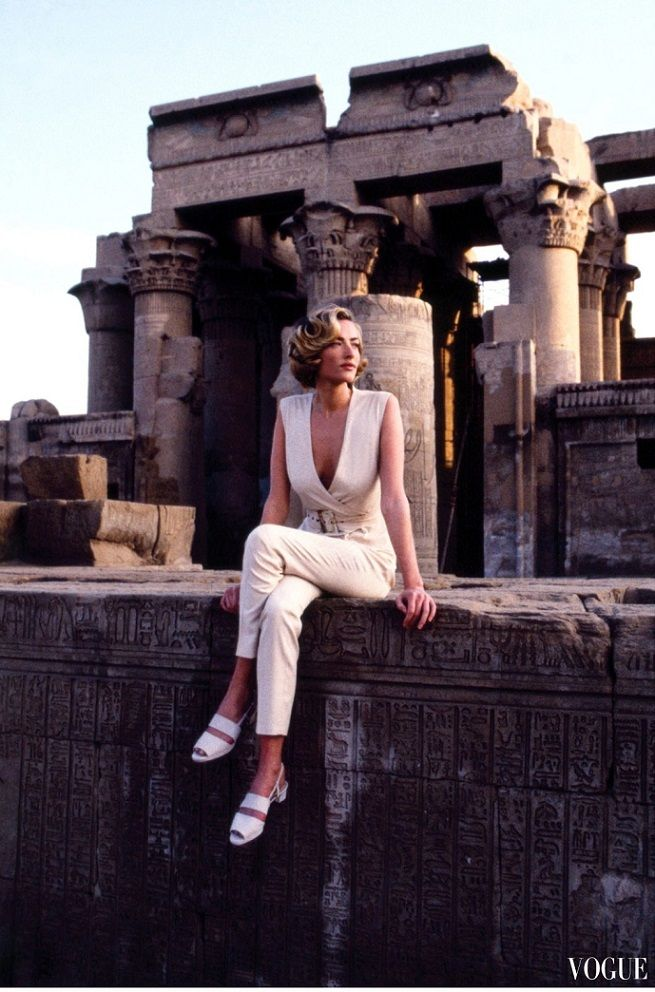"Tatjana Patitz with architecture in ""Easy Pieces of the Great Escapes"" for Vogue, April 1992. - Patitz is posing at the Temple of Kom Ombo, an unusual double temple in the town of Kom Ombo in Upper Egypt. It was constructed during the Ptolemaic dynasty, 180–47 BC. Some additions to it were later made during the Roman period. The building is unique because its 'double' design meant that there were courts, halls, sanctuaries and rooms duplicated for two sets of gods. - Németh György"