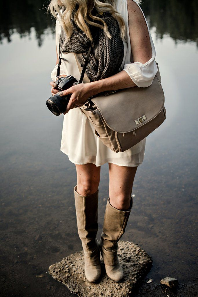 HEIDI HADEN GREIGE 'HIPSTER' heidihaden.com  It's an organic, elegant neutral that is very easy on the eyes! The perfect blend of grey and beige sandy tones!   The 'HEIDI HADEN HIPSTER' camera bag is designed to be comfortably worn around your hips! This function takes all of the pressure off of your neck and keeps your gear secure at your side while providing easy access to your lenses and gear. The hip straps tuck neatly away when you'd prefer to carry it as a shoulder bag only!