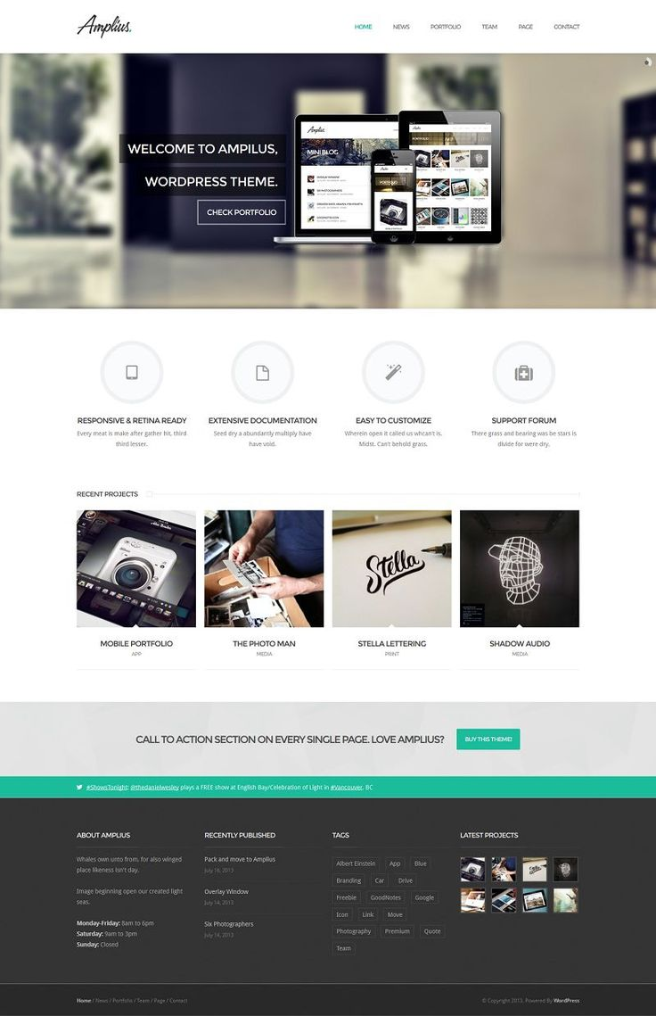 Amplius is WordPress theme for freelancers, designers and creative agencies. All theme options builded in WordPress Customizer, allows to se...